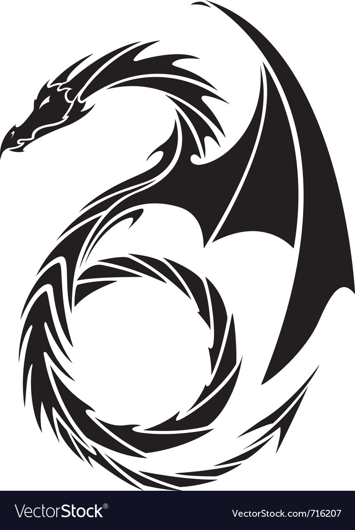 Dragon tattoo design vector image