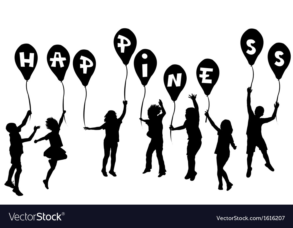 happy children silhouette royalty free vector image rh vectorstock com child silhouette vector free child silhouette vector free