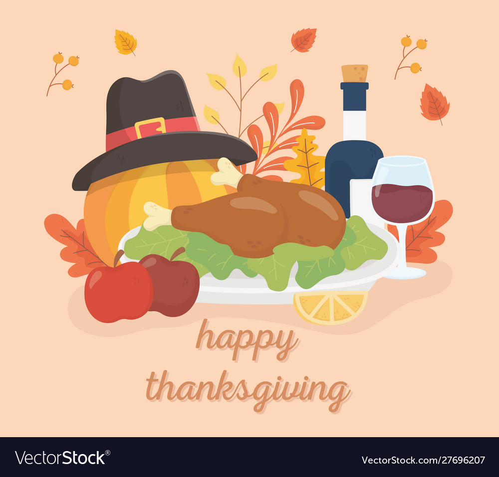 Happy thanksgiving roasted turkey wine apples