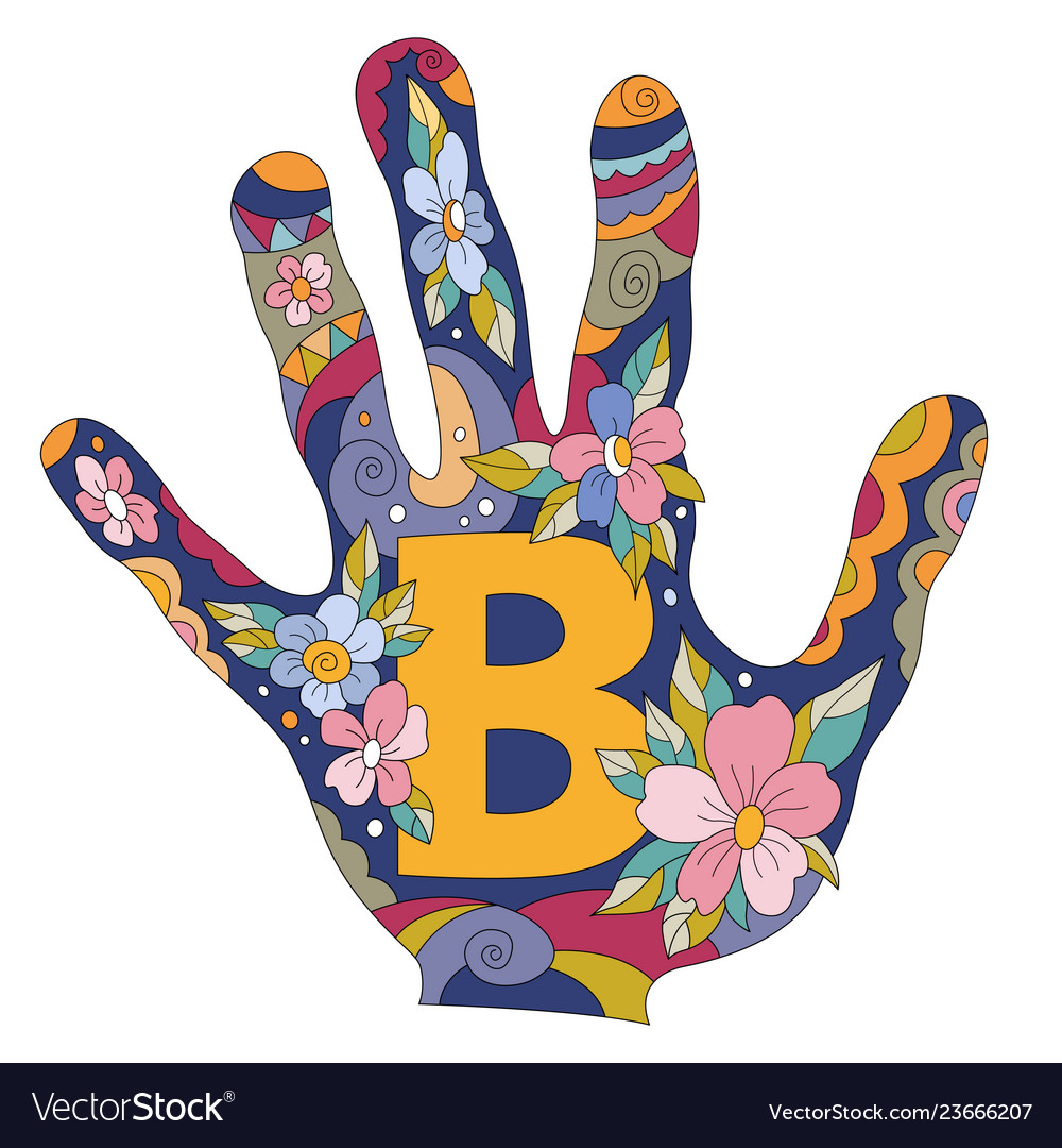 Letter b in hand