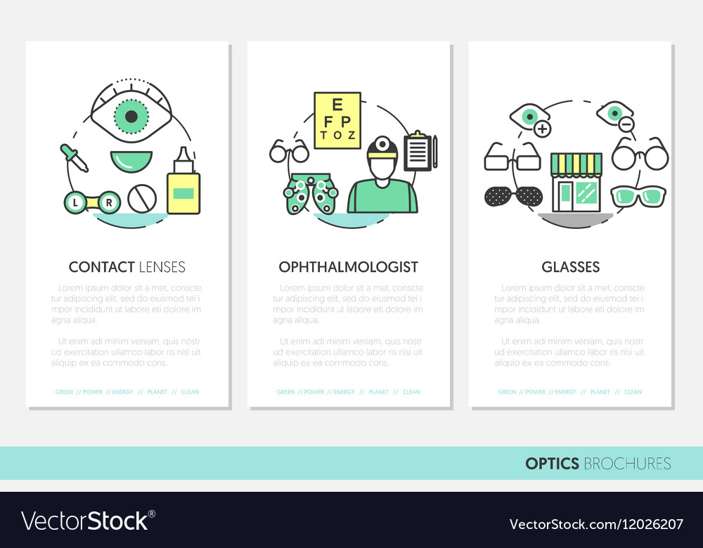 Optician thin line brochures and business cards vector image colourmoves