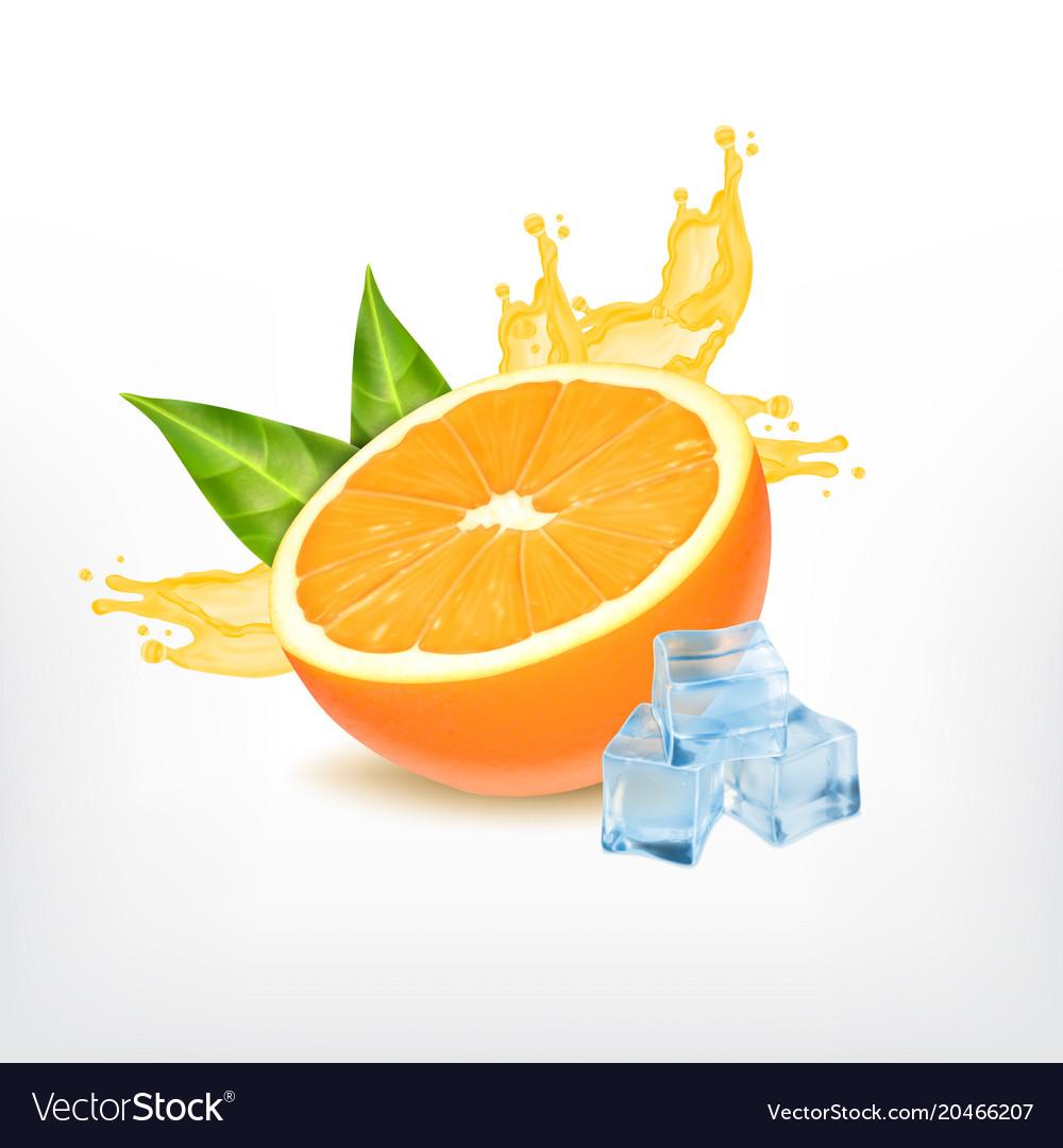 Orange fruit with splashing juice