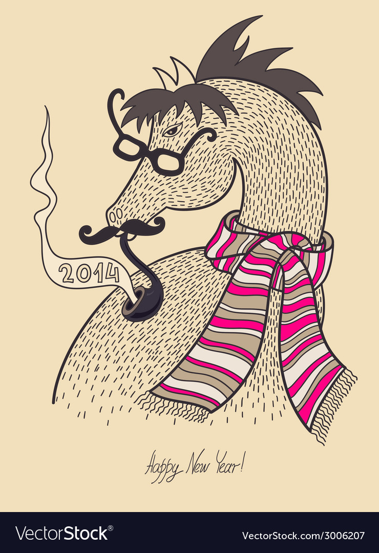 Original hipster horse in glasses mustache smoking