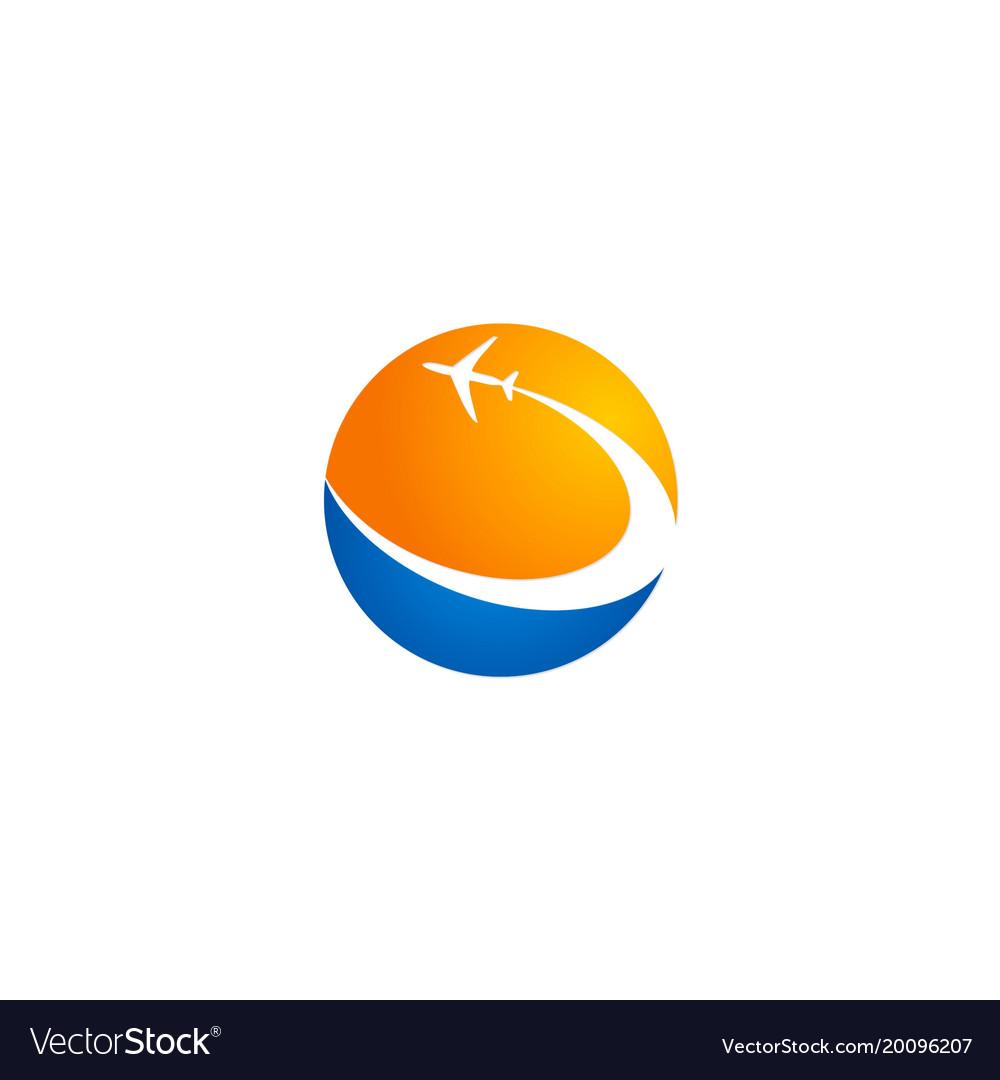 Plane travel world company logo