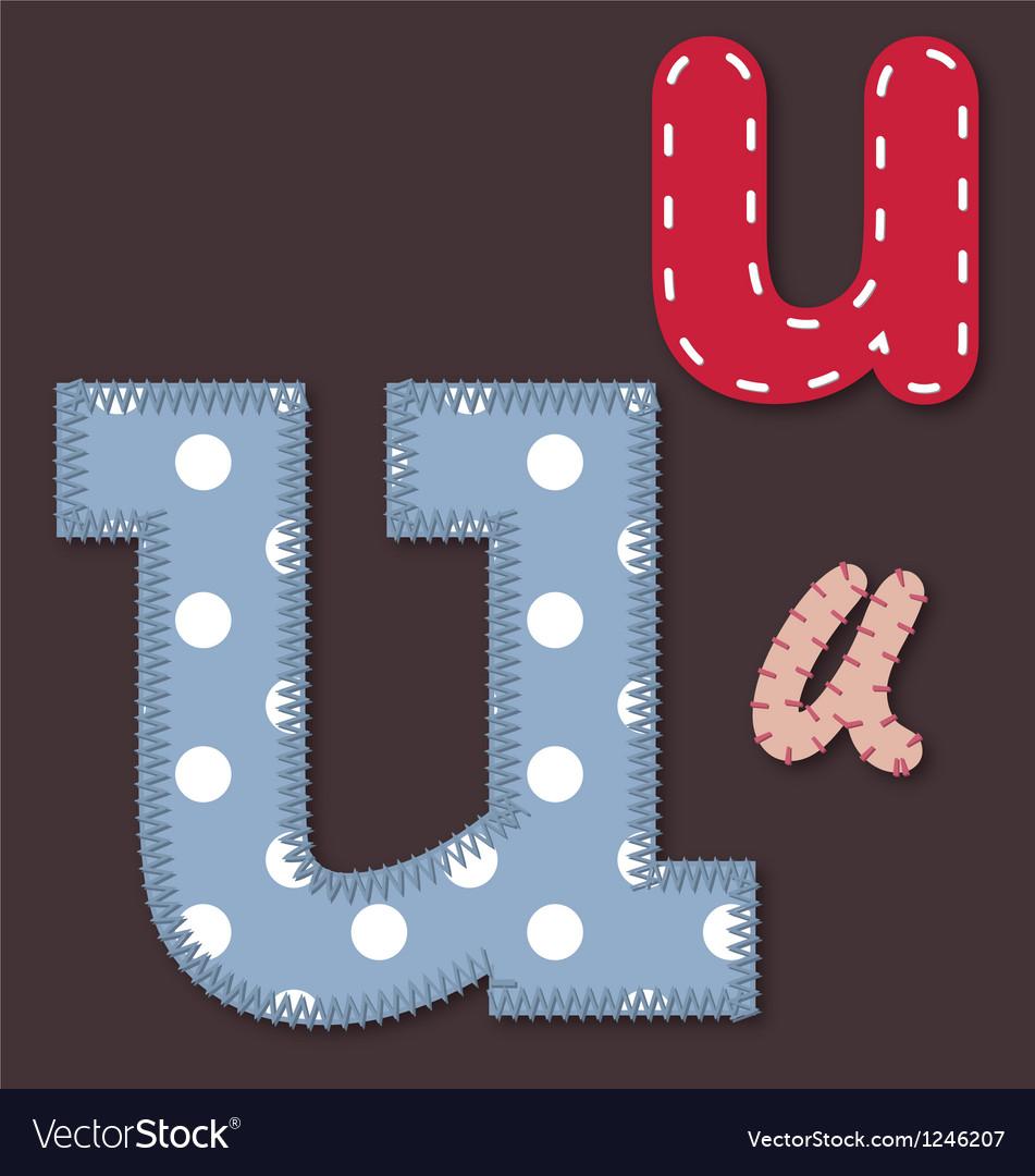 Set of stitched font - Letter U vector image