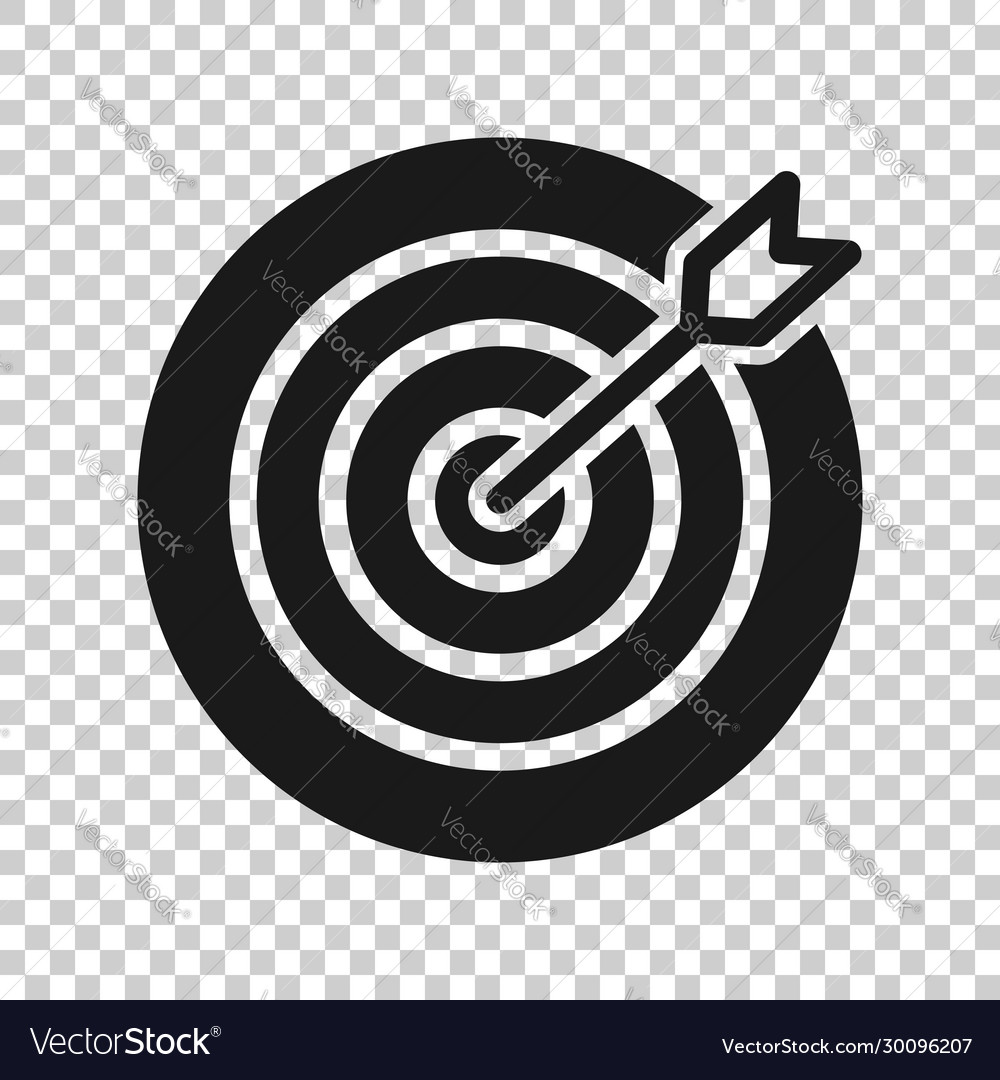 target aim icon in flat style darts game on white vector image target aim icon in flat style darts game on white vector image