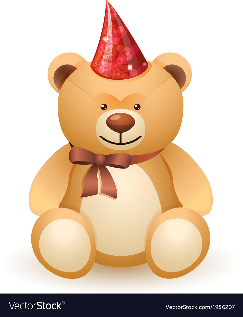 The bear toy with a bow and festive cap