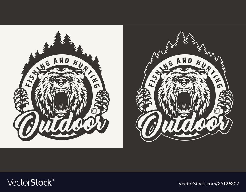 Vintage monochrome hunting round logo