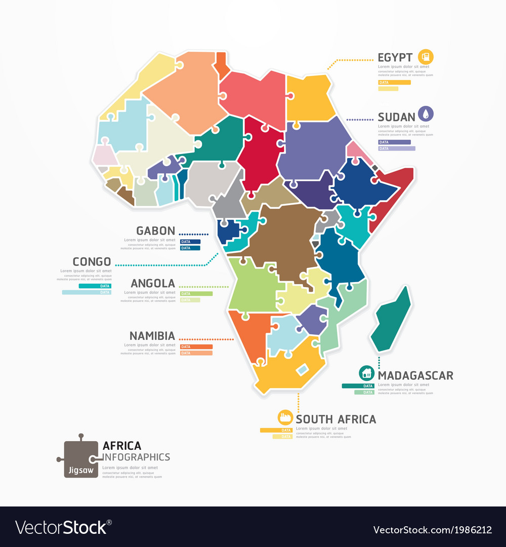 africa infographic map template jigsaw concept vector image