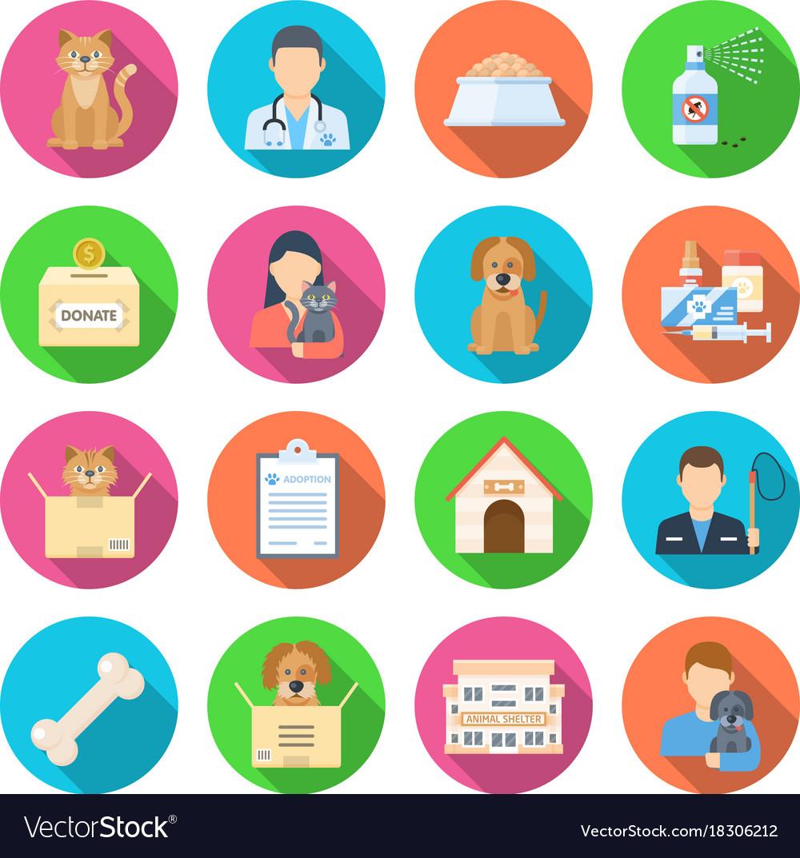 Animal shelter icon set