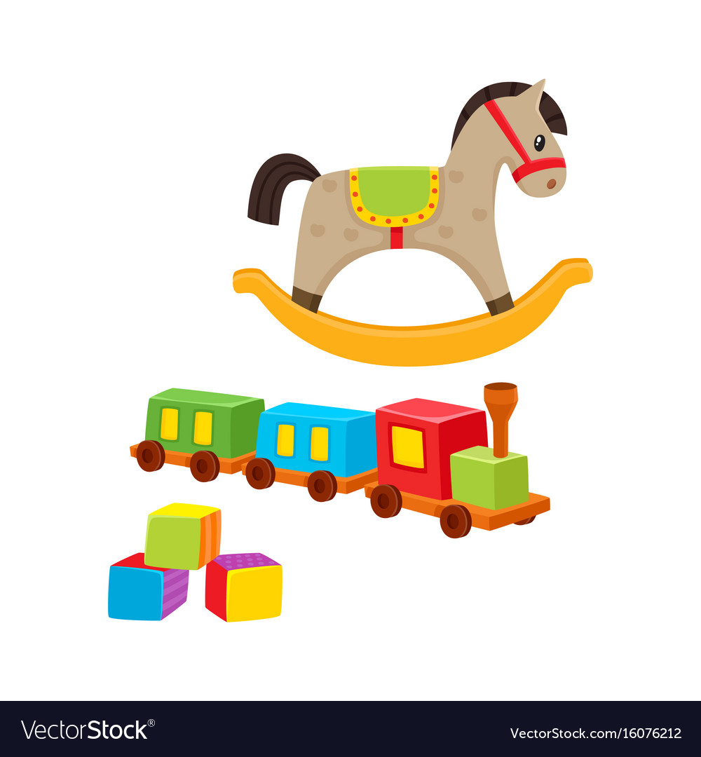 Baby wooden toys train rocking horse blocks