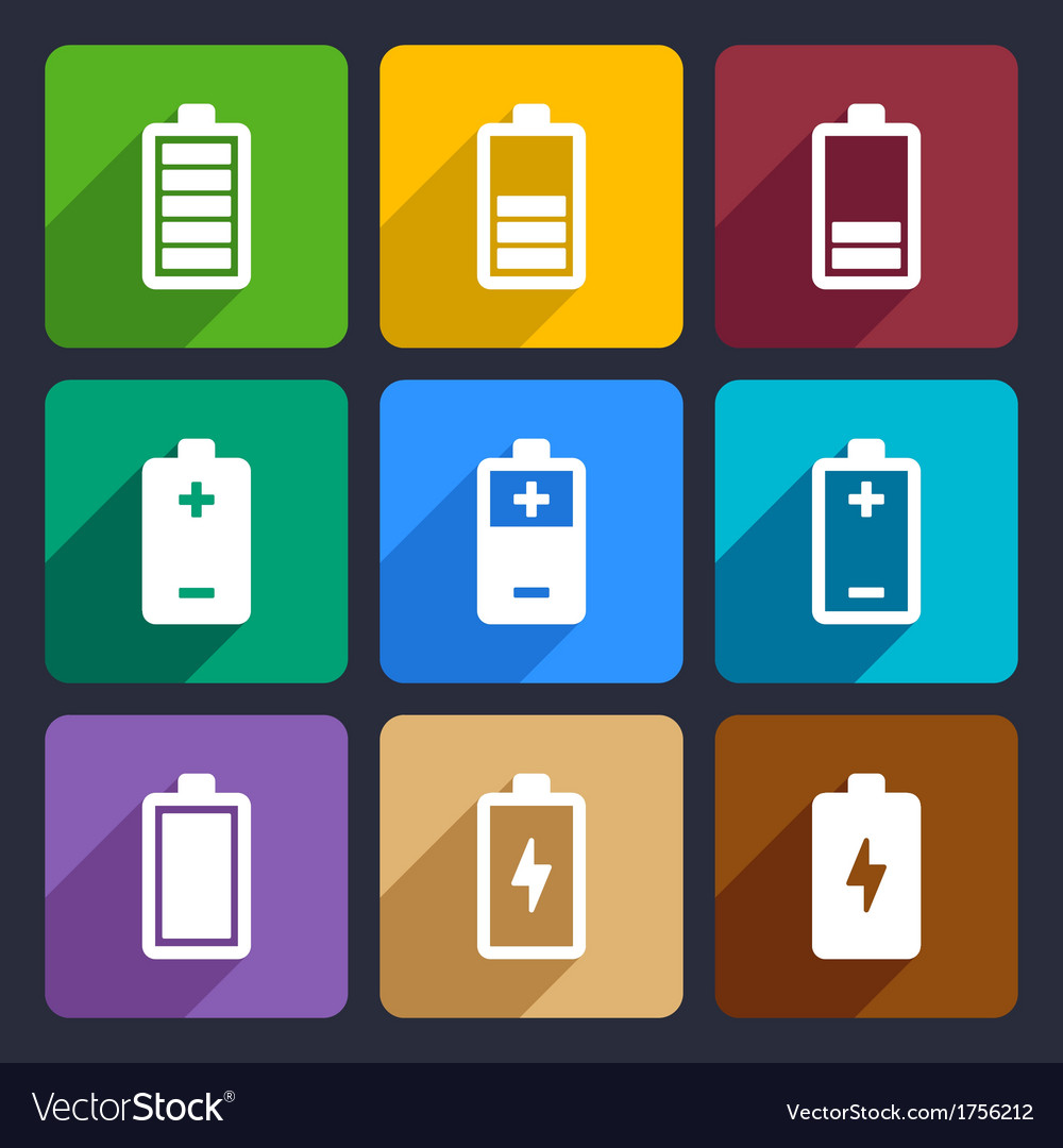 Battery flat icons set 22
