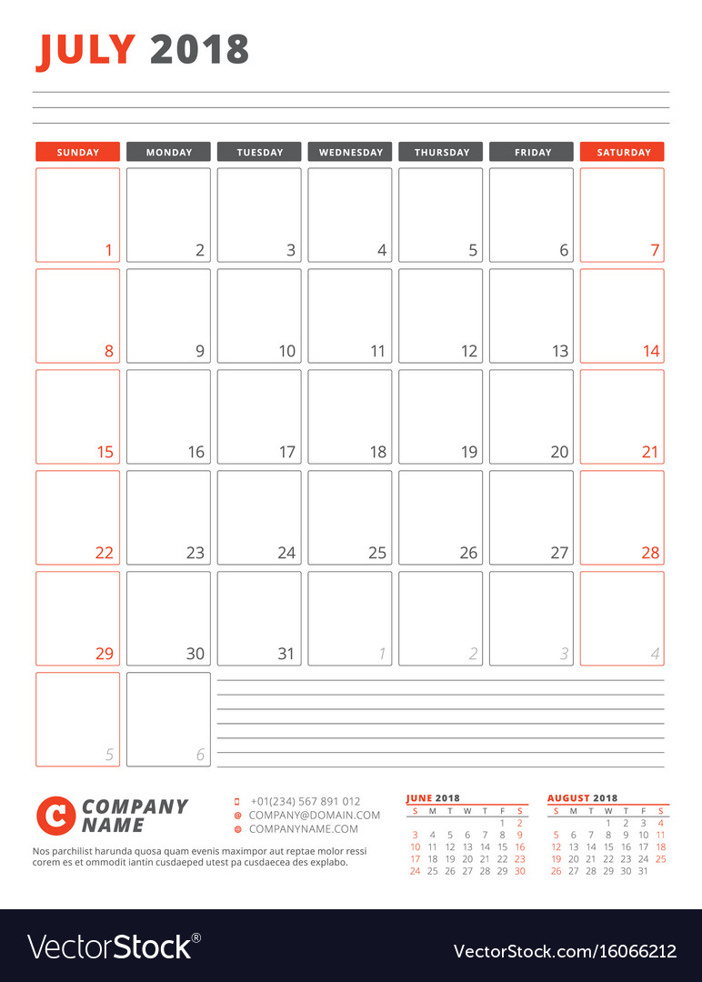 Calendar template for 2018 year july business