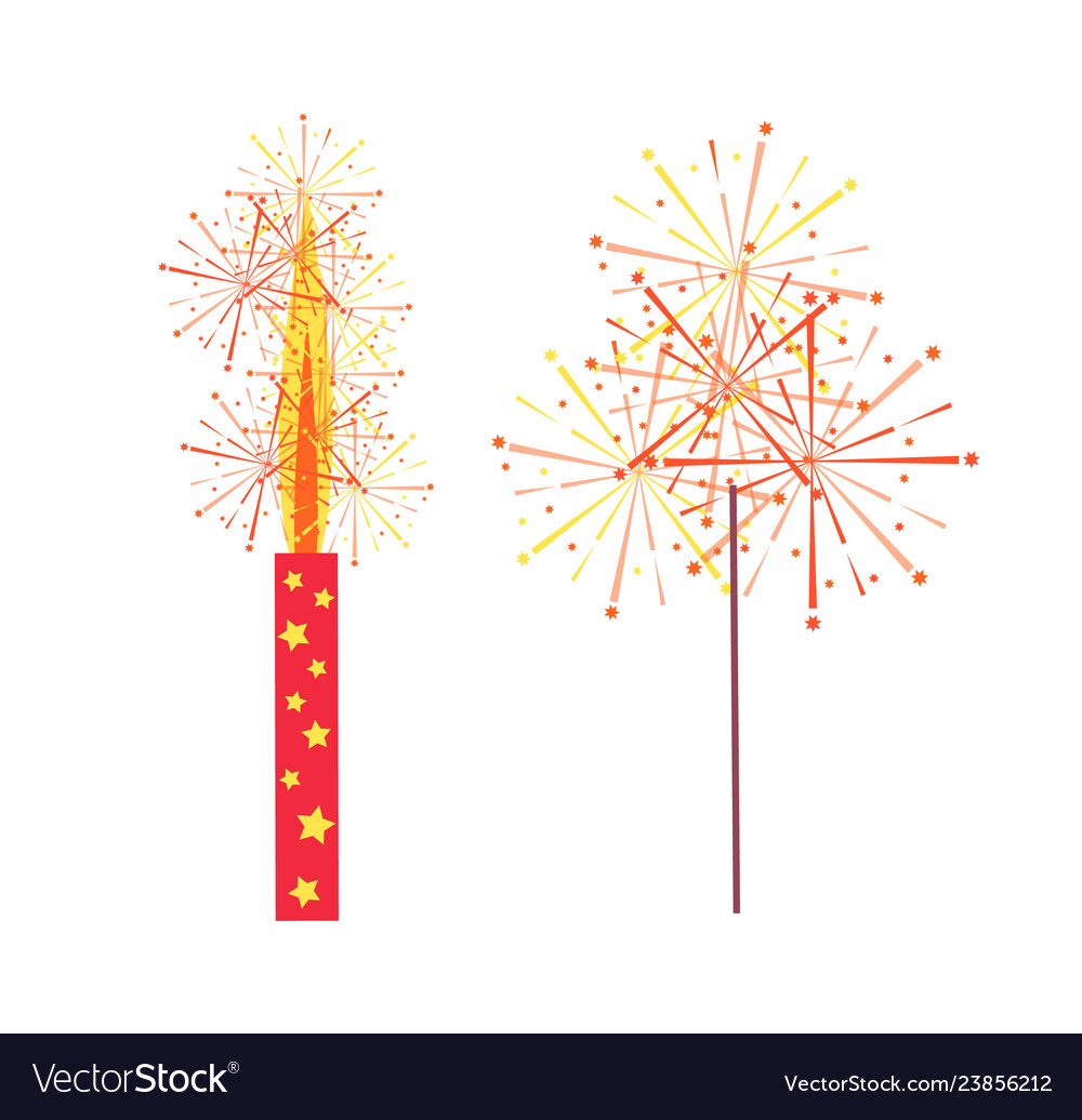 Fireworks and sparkler isolated icons
