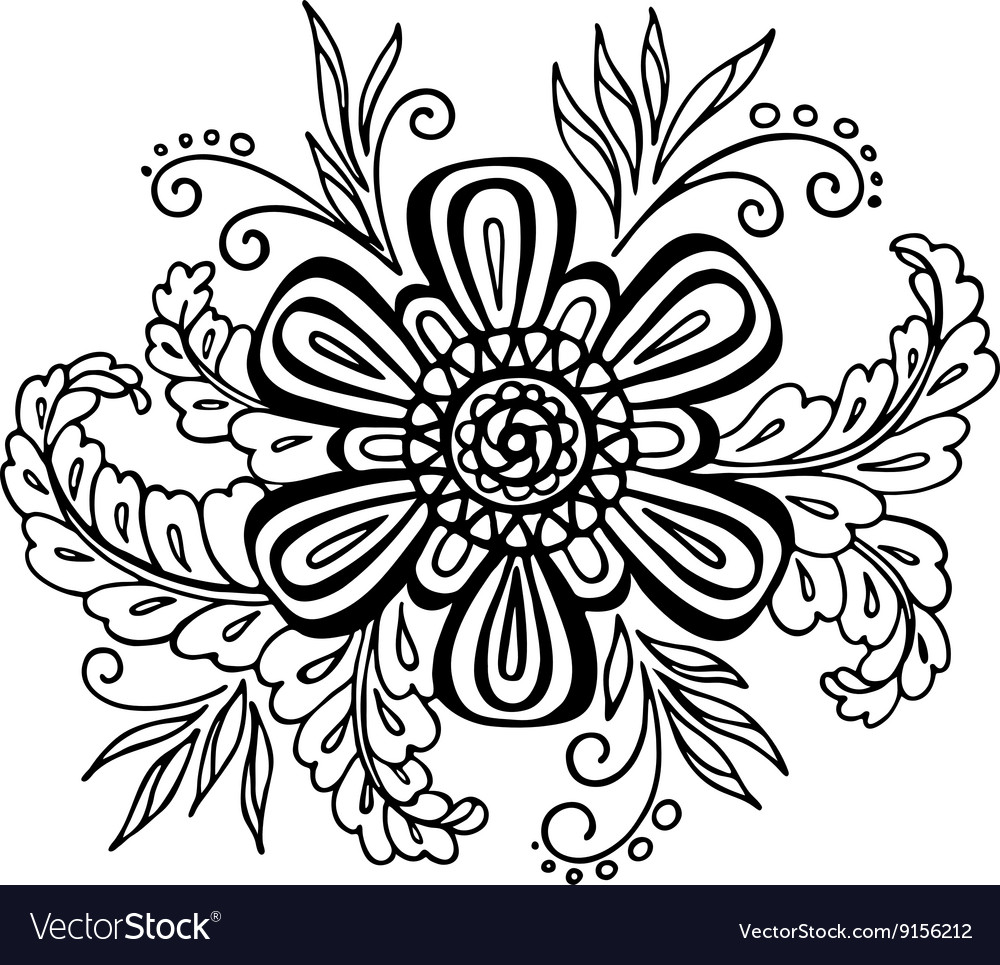 Floral Outline Calligraphic Pattern Royalty Free Vector
