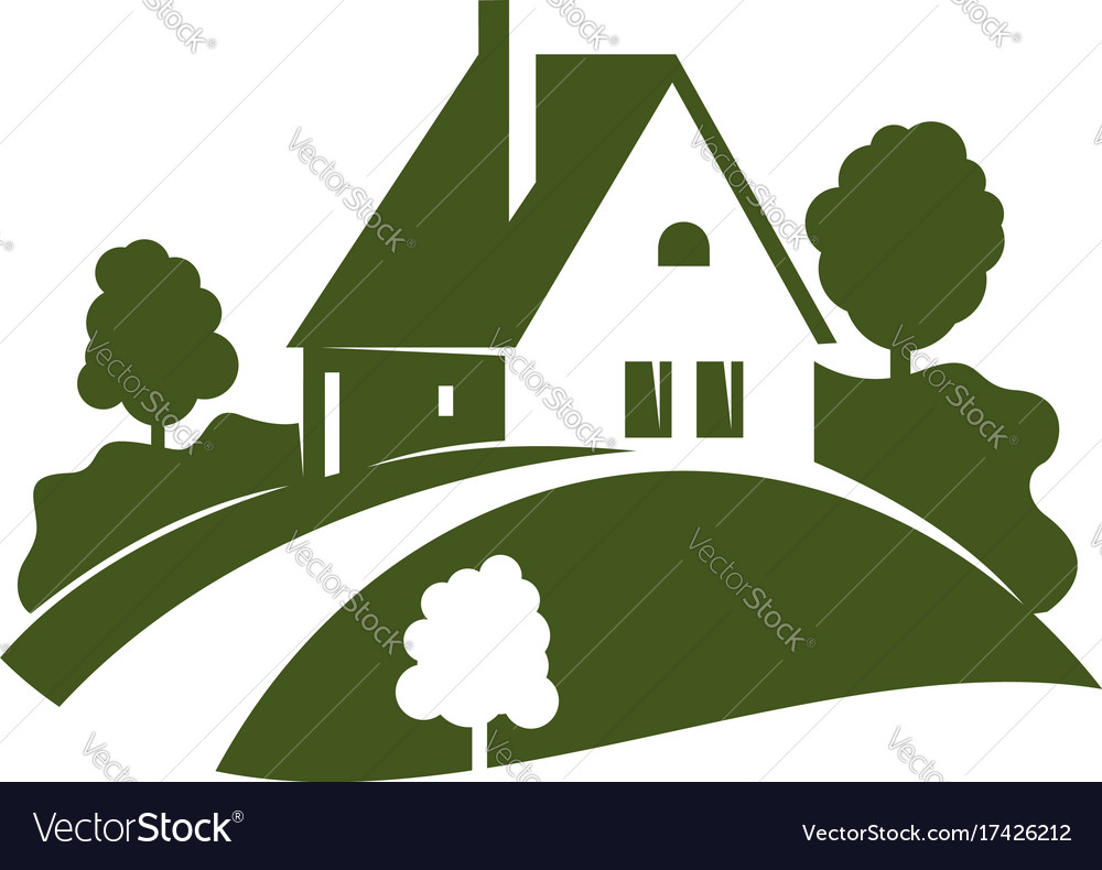 Green house icon with garden tree plant and lawn