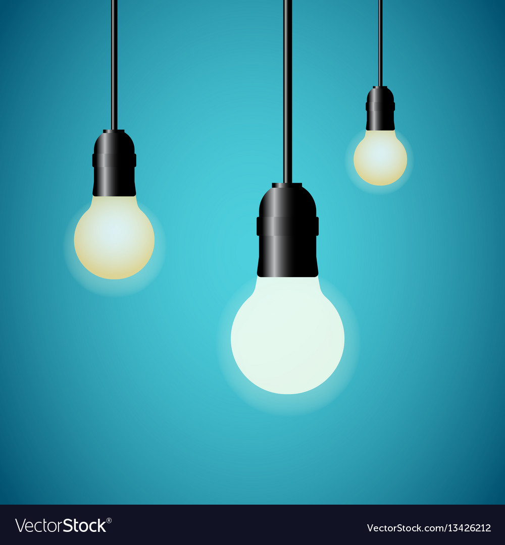 Hanging light bulbs glowing on blue background vector image aloadofball Image collections