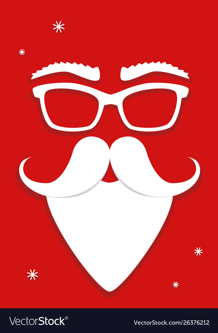 Hipster white santa claus mask on red background