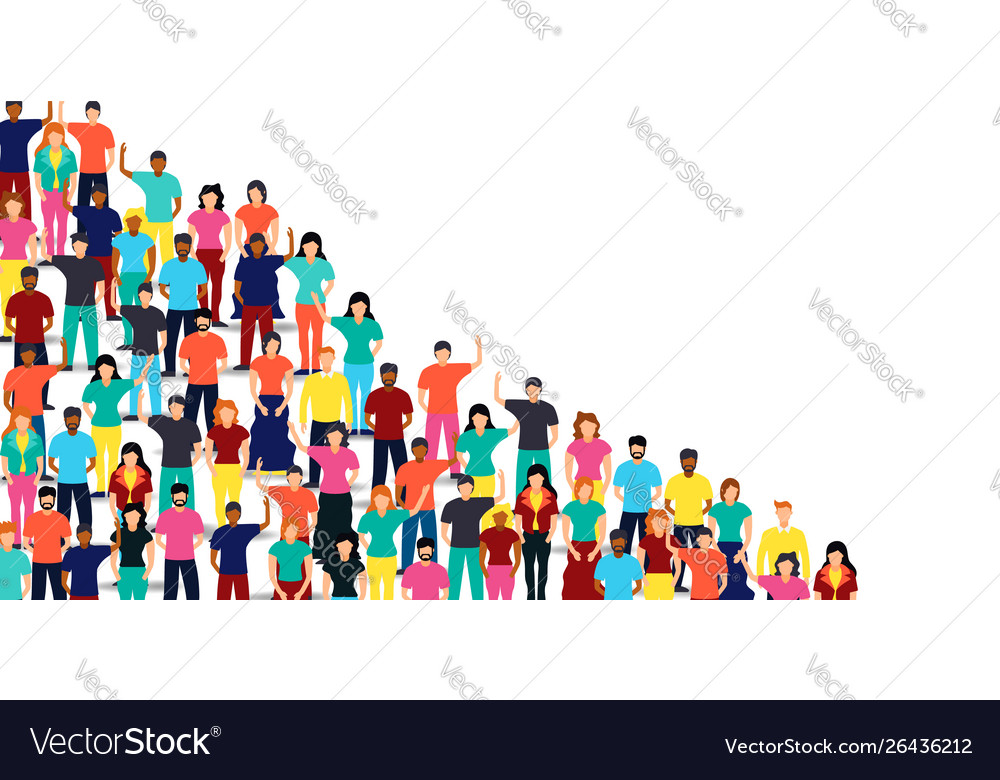 Mixed people group on isolated background