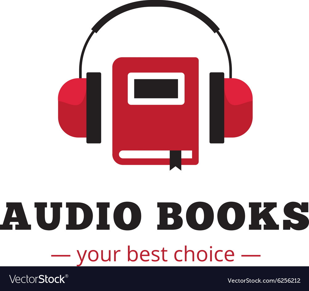 Modern audio books store logo Red book and