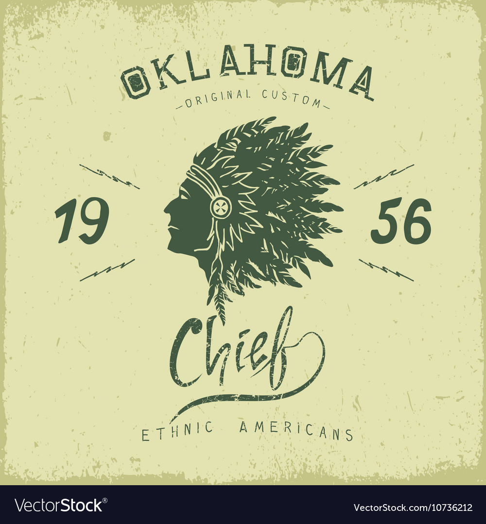 Old label with indian cheif head in profile