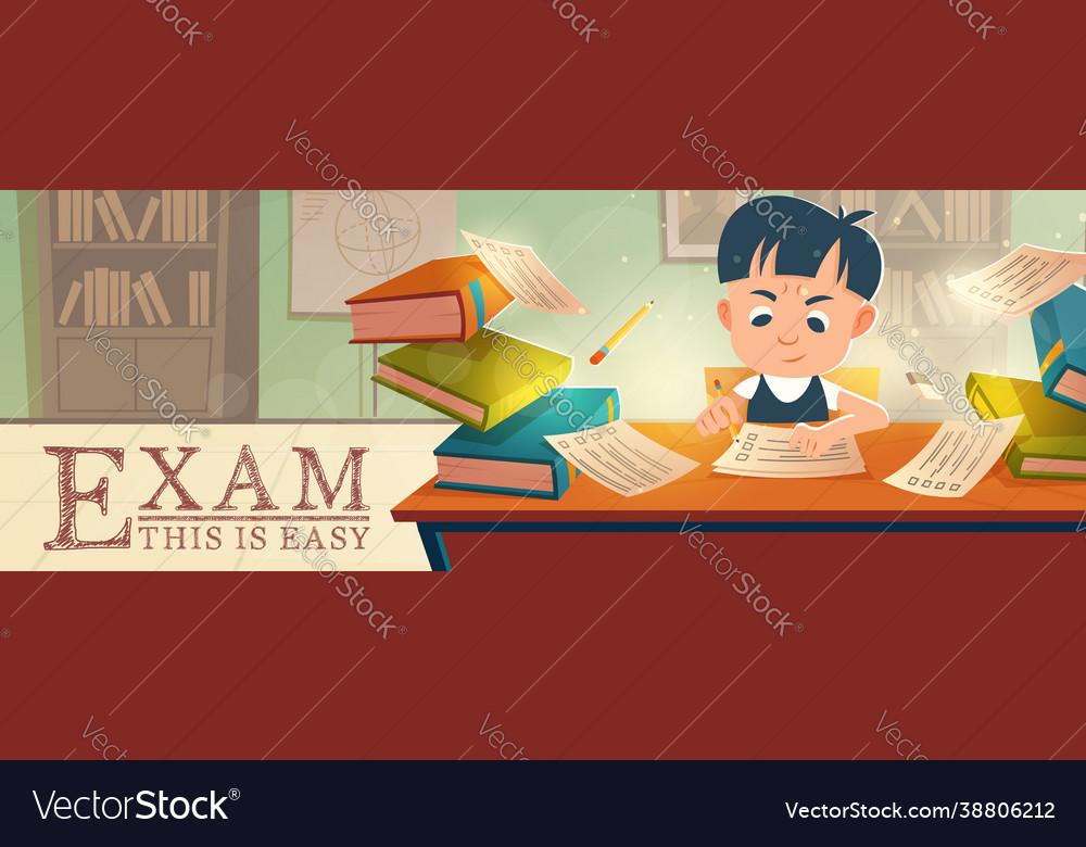 School student passing easy exam in classroom