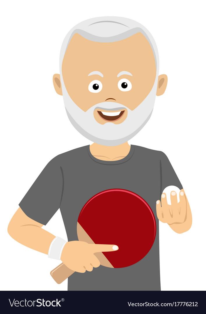 Senior man holding ping pong racket and ball vector image
