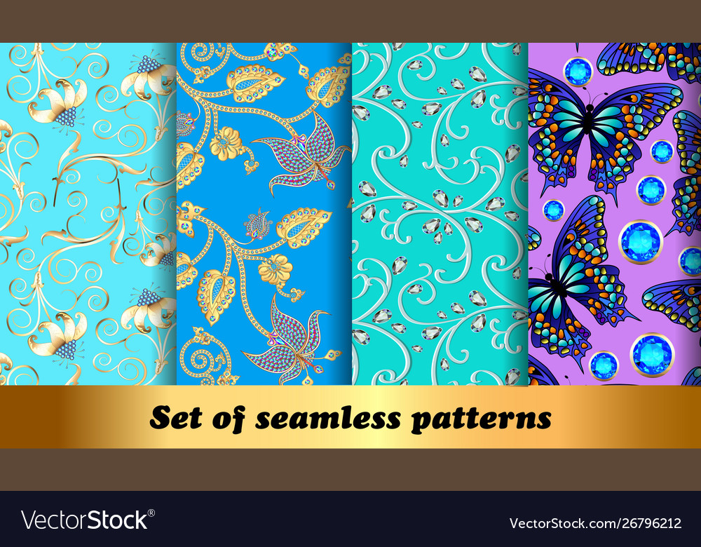 Set floral seamless patterns with precious