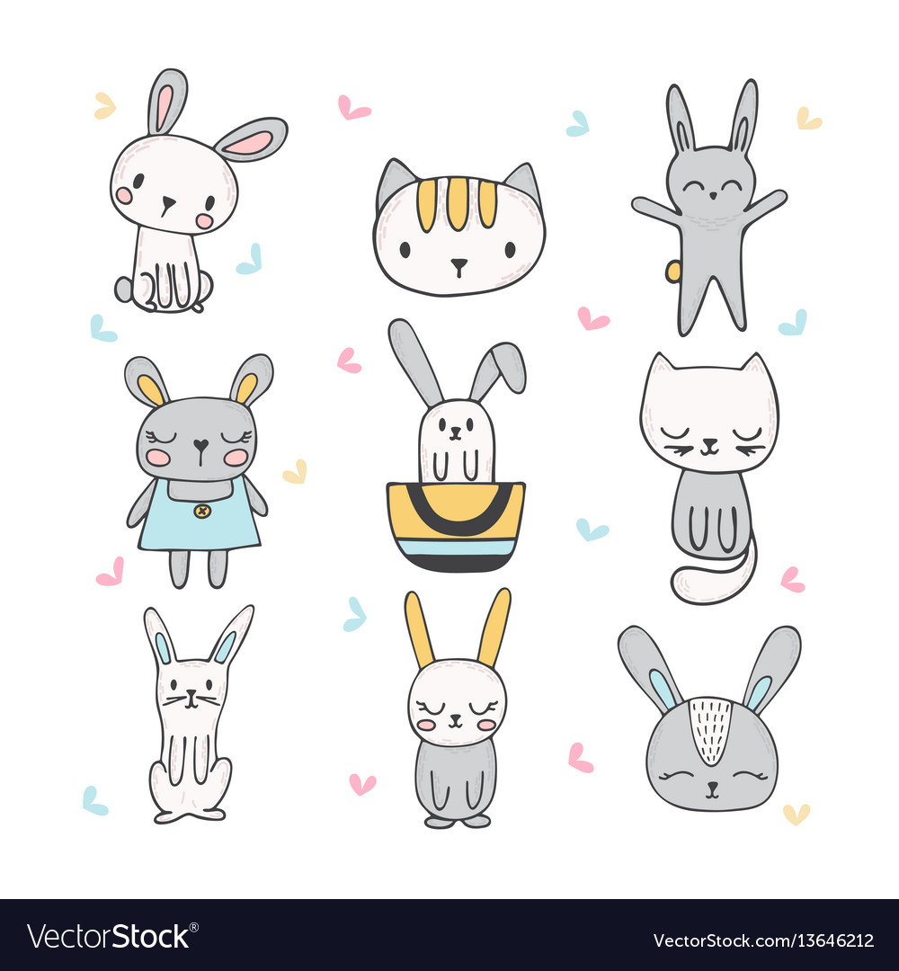 Set of cute hand drawn bunnies and cats