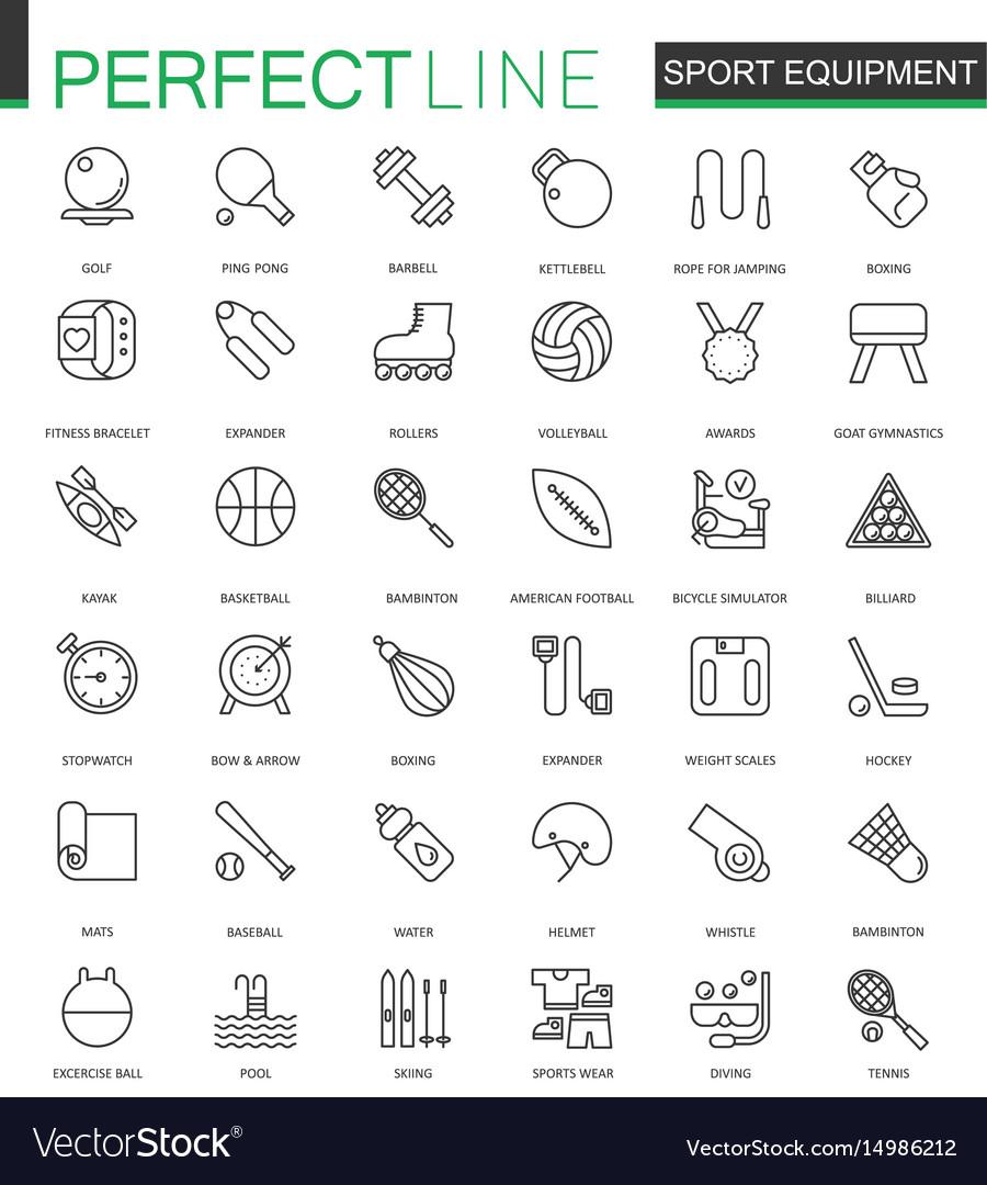 Sport equipment thin line web icons set outline