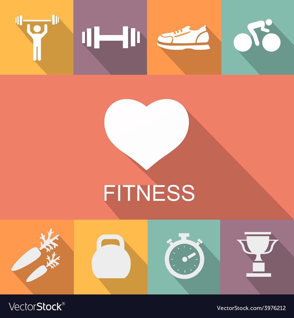 Sports background with fitness icons in flat vector image