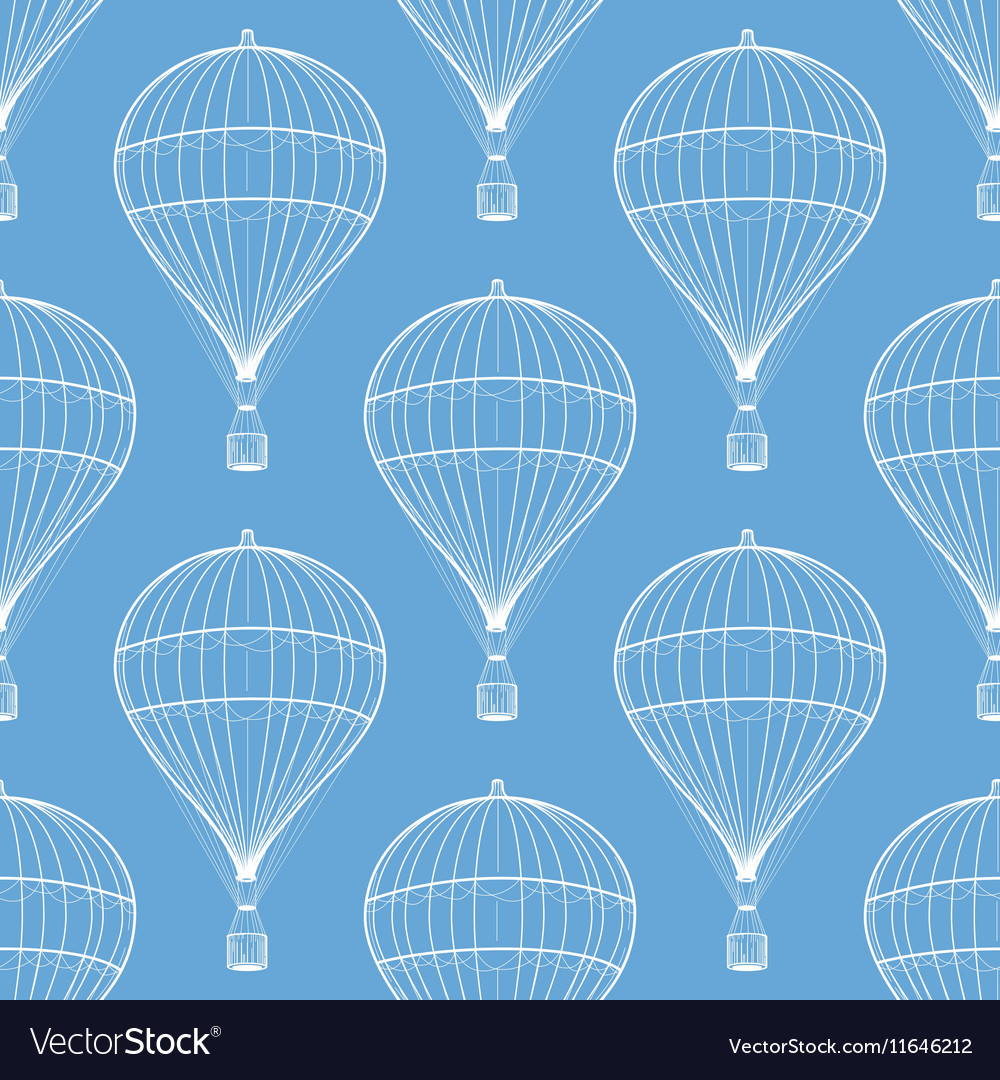 Vintage hot air balloons seamless pattern