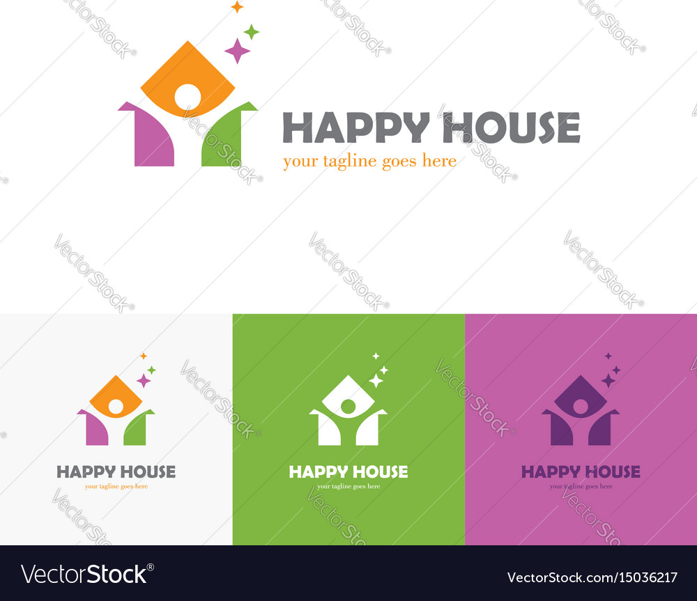 Colorful house logo with abstract man silhouette
