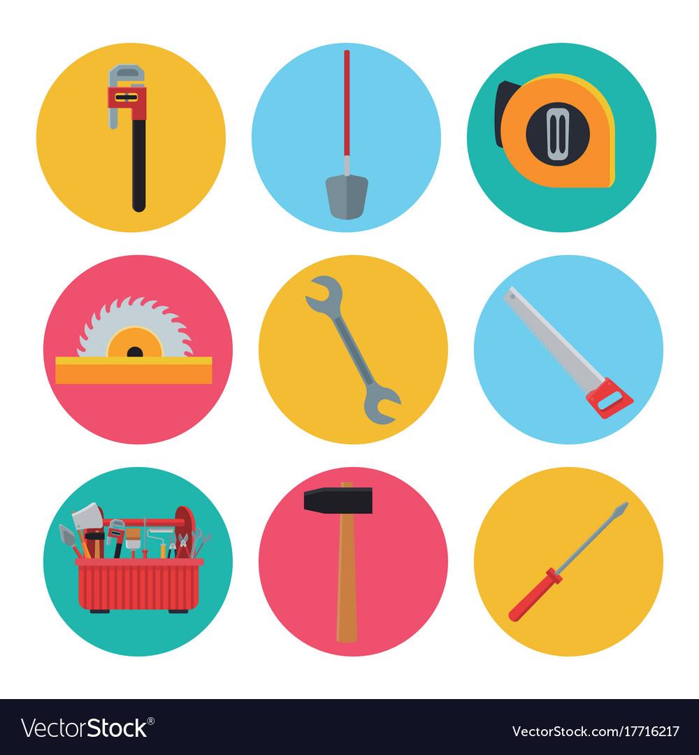 Construction tools icons set ilustration