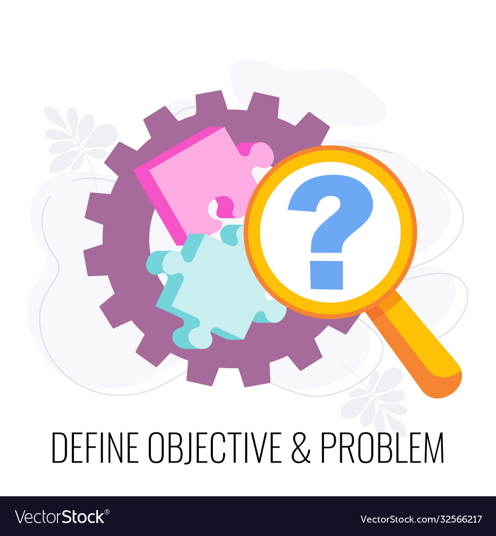 Define objective and problem icon market research