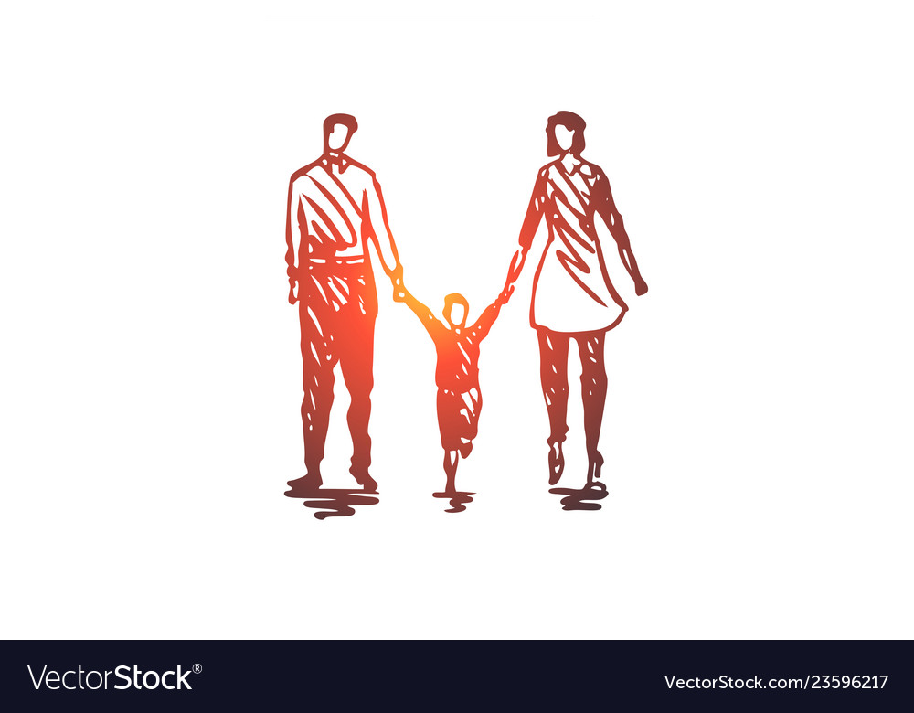Family father child woman couple concept hand
