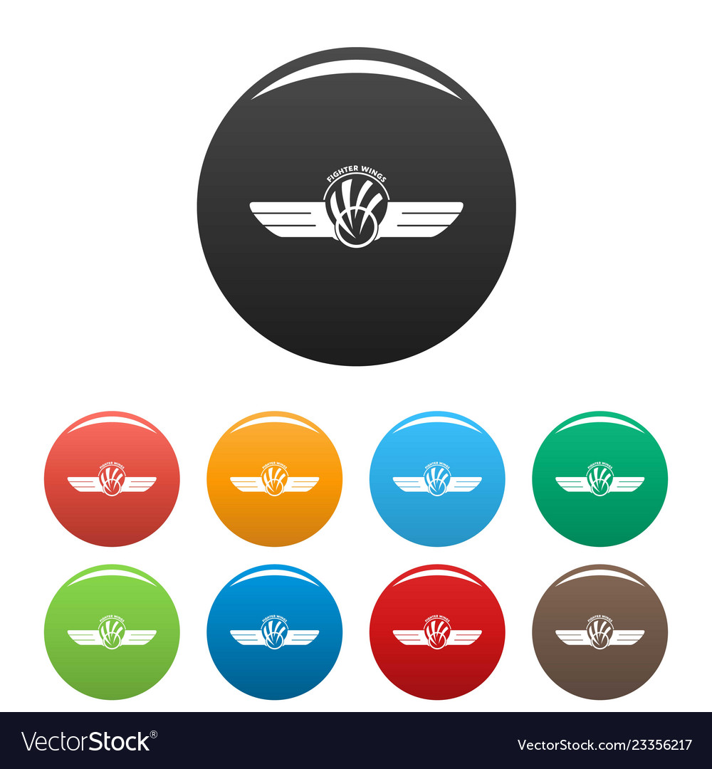 Fighter wings icons set color