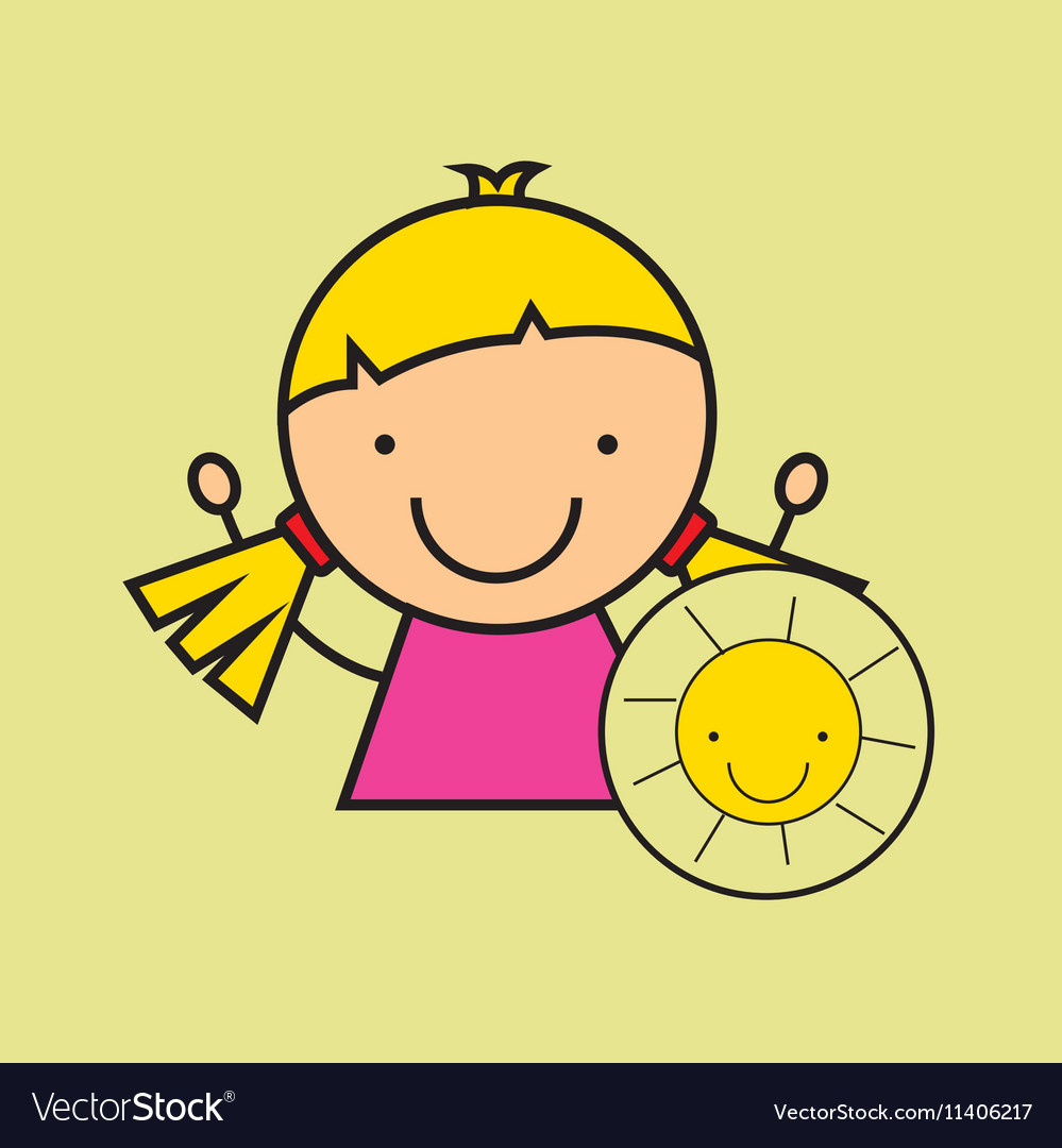 Girl happy cartoon sun smile vector image