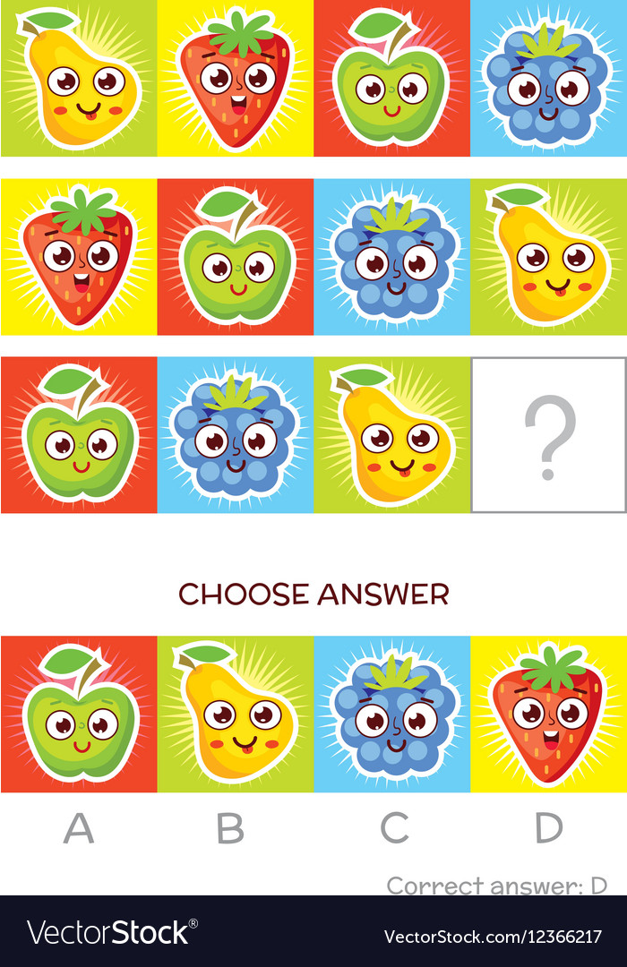 IQ test Logical tasks composed of colored fruits vector image