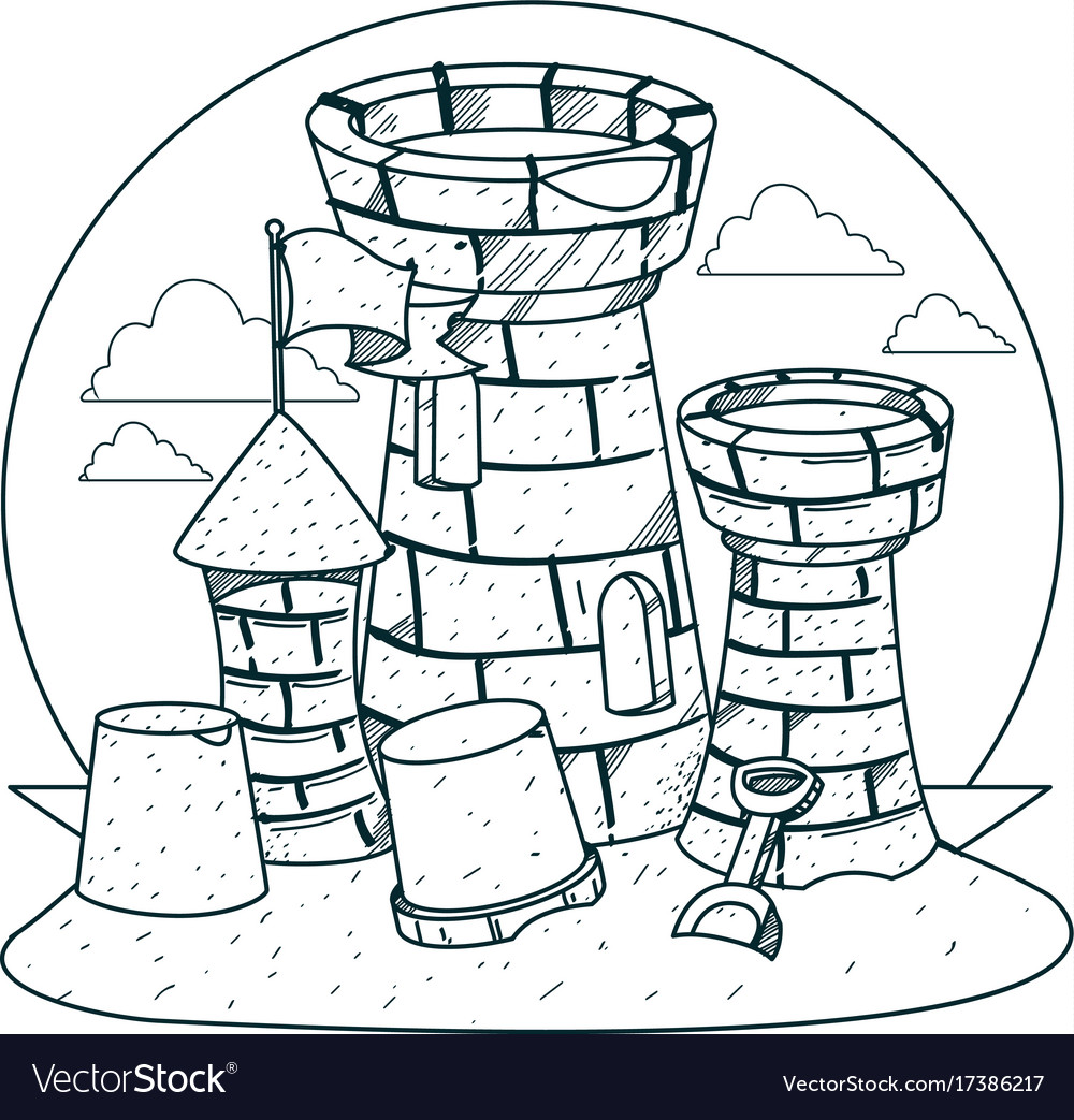 sand castle on the beach outline drawings for vector image