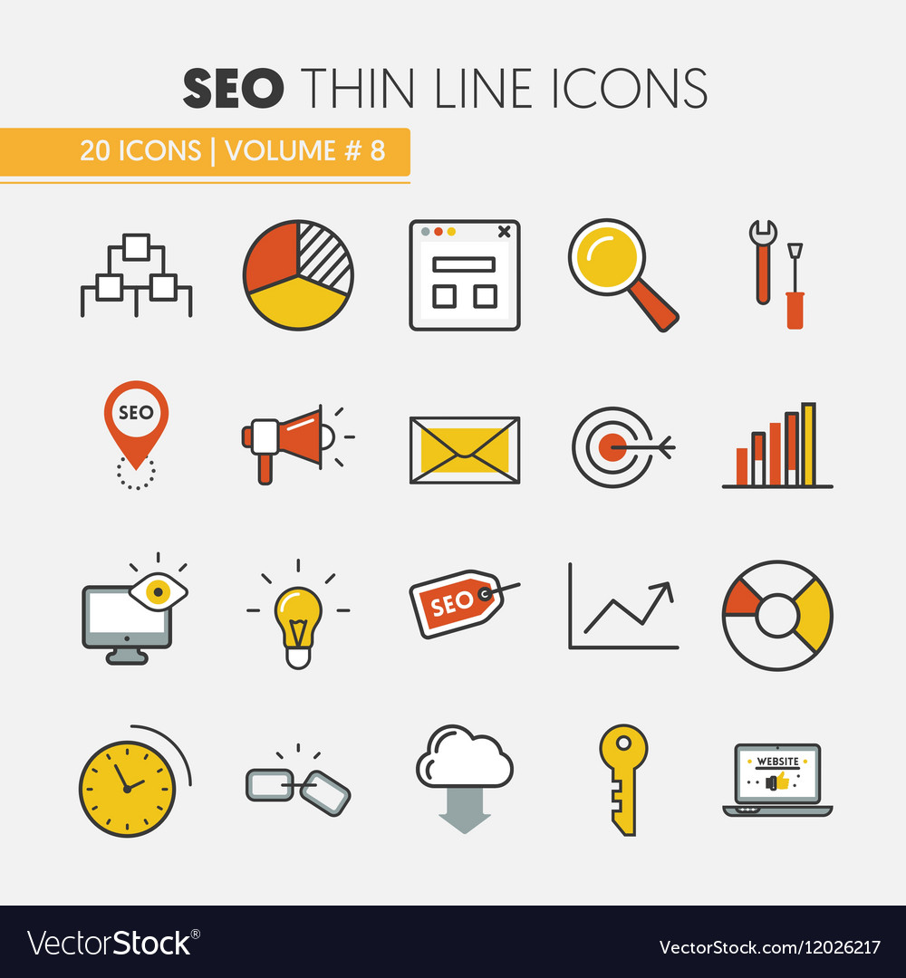 Seo and development thin line icons