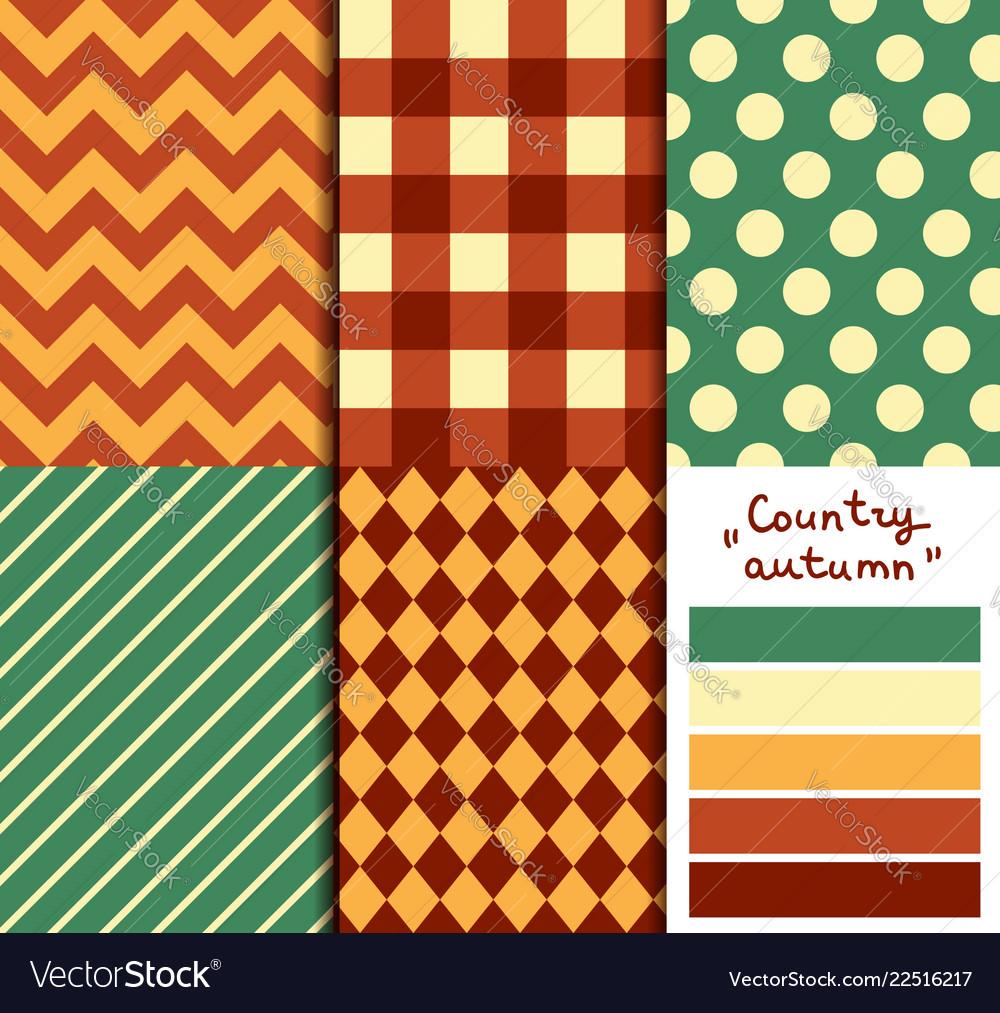 Set of 5 simple seamless geometric patterns