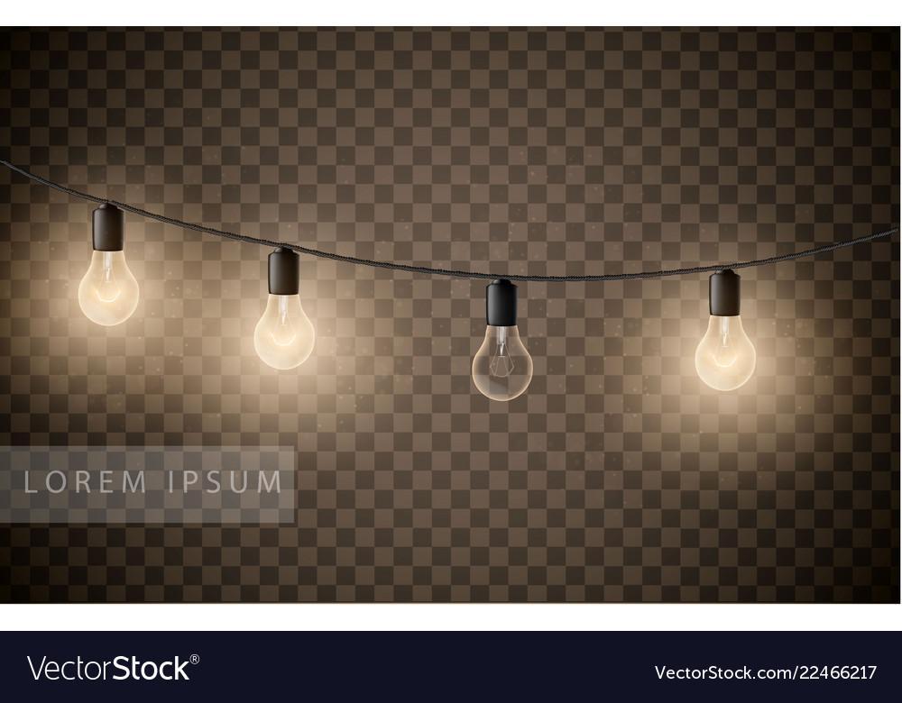 Set of light bulbs garlands on transparent