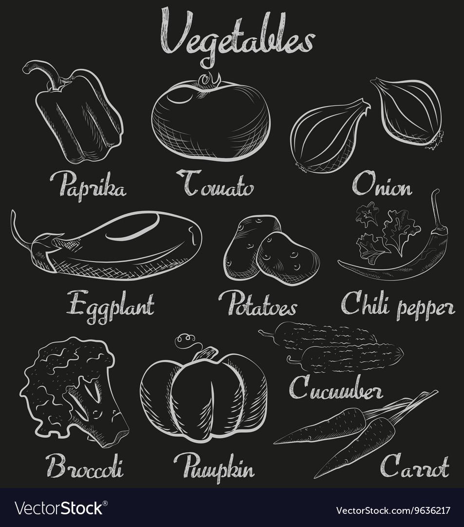 Vintage vegetables Hand-drawn chalk blackboard