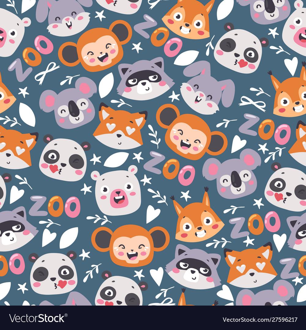 Zoo animals seamless pattern