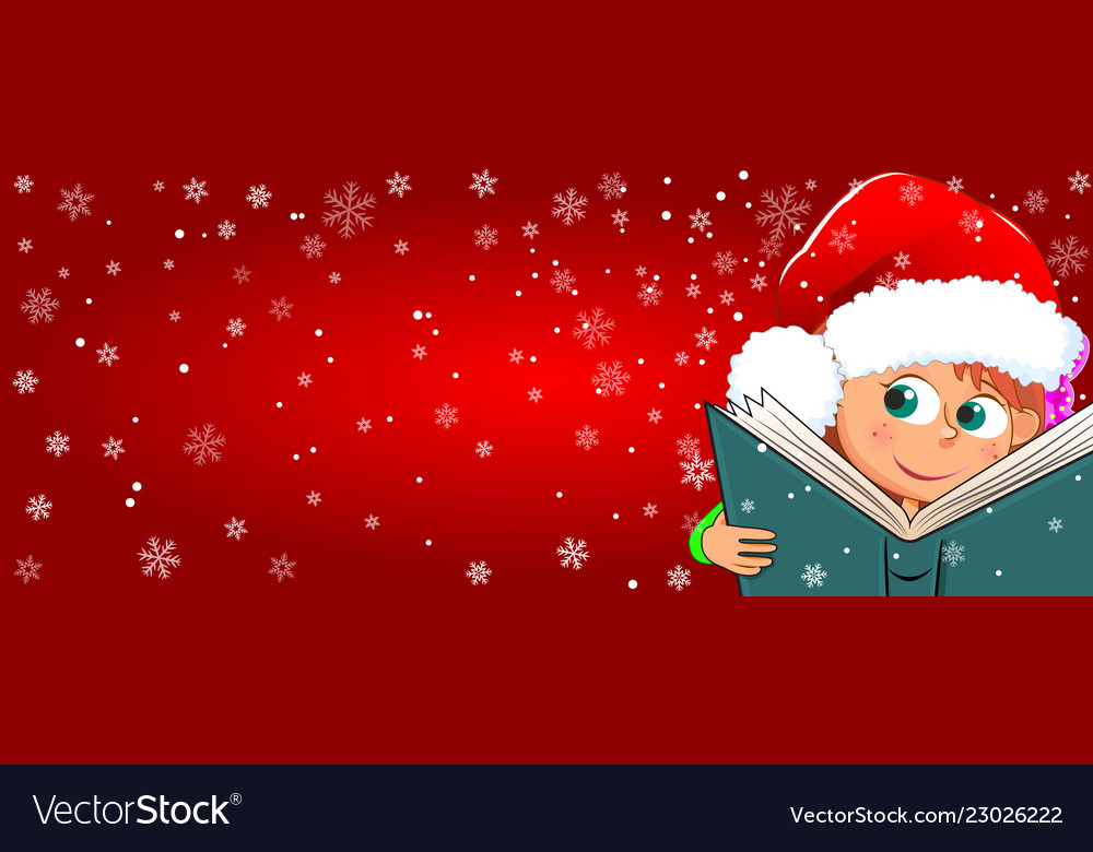 A child reads a book for christmas