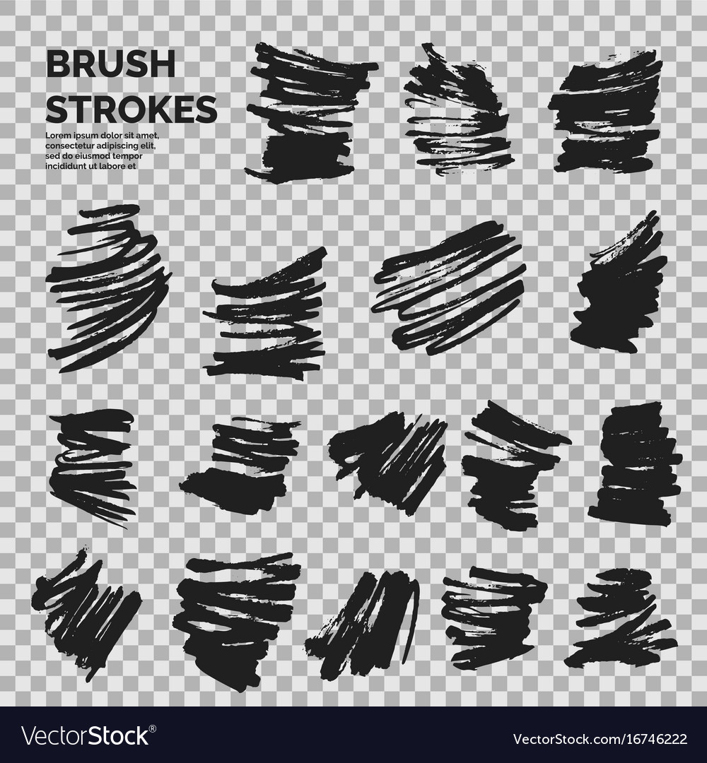 Abstract background set of ink strokes