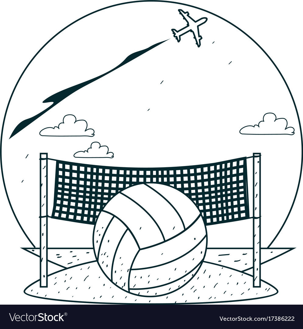 beach volleyball outline drawings for coloring vector image