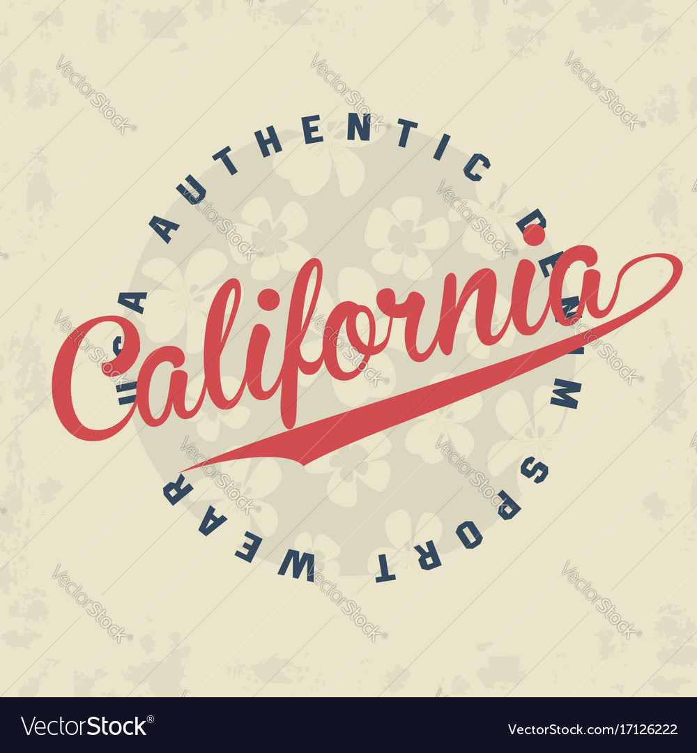 California typography for t-shirt print