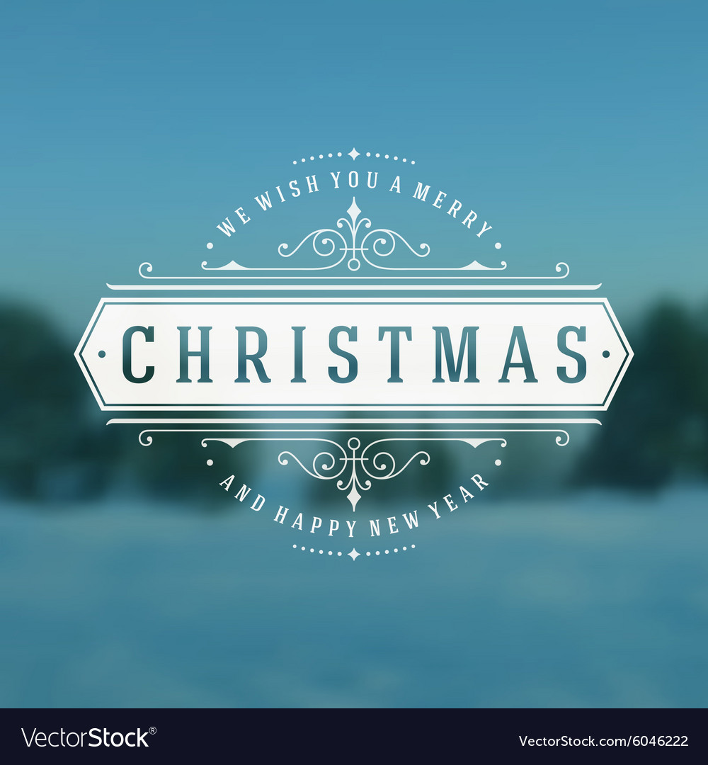 Christmas typography greeting card and flourishes
